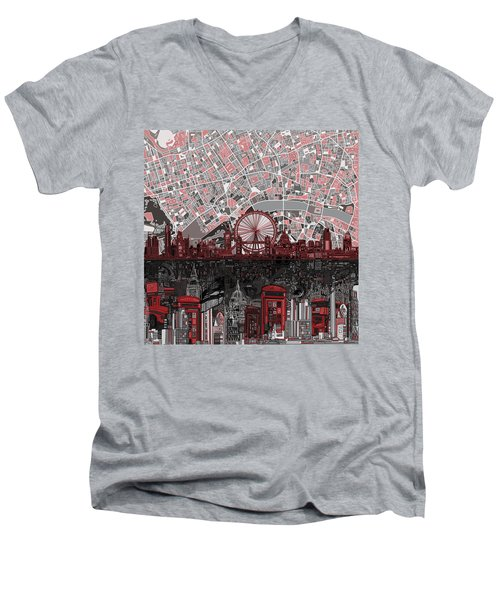 London Skyline Abstract 6 Men's V-Neck T-Shirt