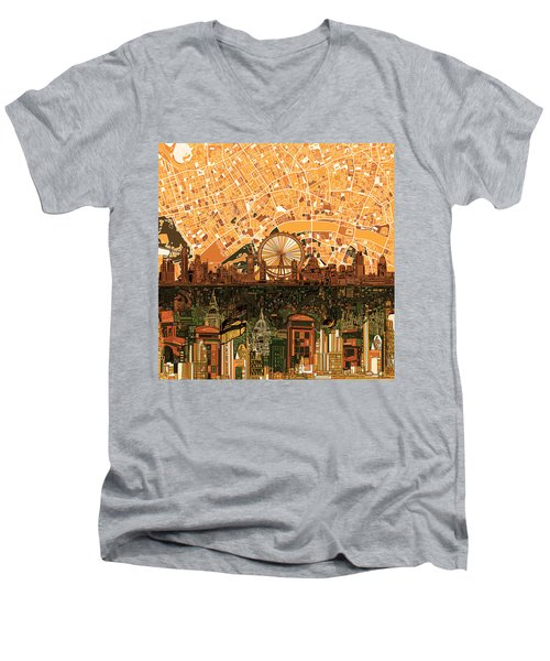 London Skyline Abstract 7 Men's V-Neck T-Shirt