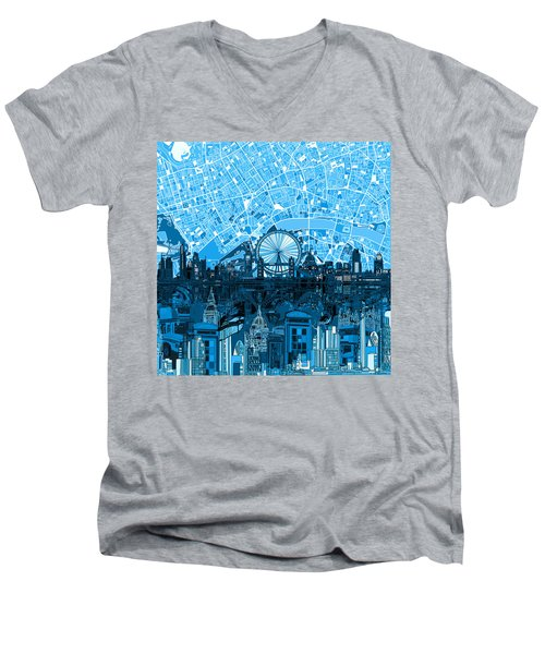 London Skyline Abstract Blue Men's V-Neck T-Shirt