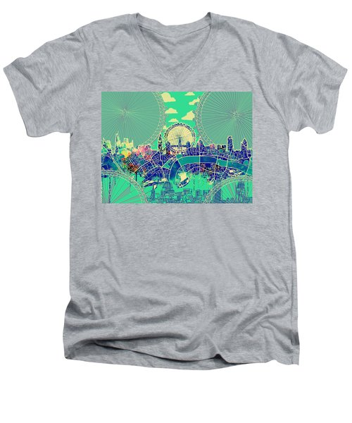 London Skyline Vintage 2 Men's V-Neck T-Shirt