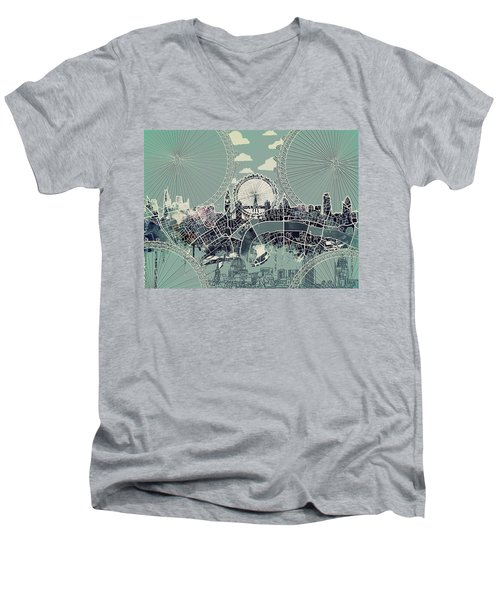 London Skyline Vintage Men's V-Neck T-Shirt