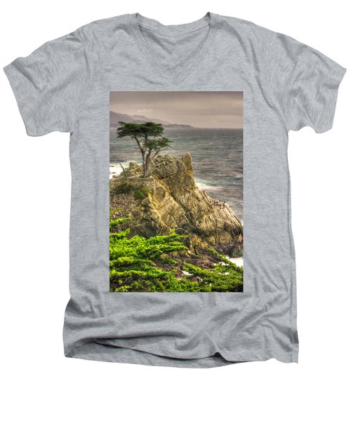 Lone Cypress On The Monterey Peninsula - No. 1 Looking Across Carmel Bay Spring Mid-afternoon Men's V-Neck T-Shirt by Michael Mazaika