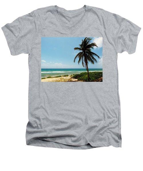 Lone Tree Men's V-Neck T-Shirt by Amar Sheow