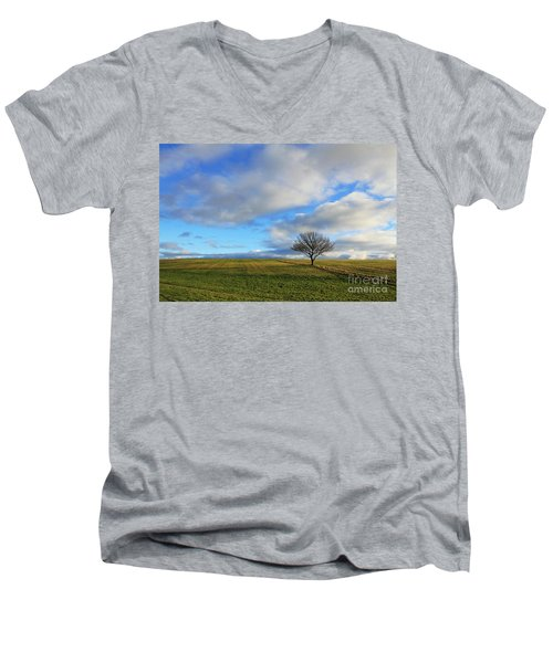 Lone Tree At Epsom Downs Uk Men's V-Neck T-Shirt
