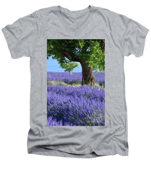 Lone Tree In Lavender Men's V-Neck T-Shirt