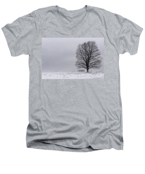 Lone Tree In The Fog Men's V-Neck T-Shirt