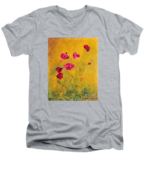 Men's V-Neck T-Shirt featuring the painting Lonely Poppies by Teresa Wegrzyn