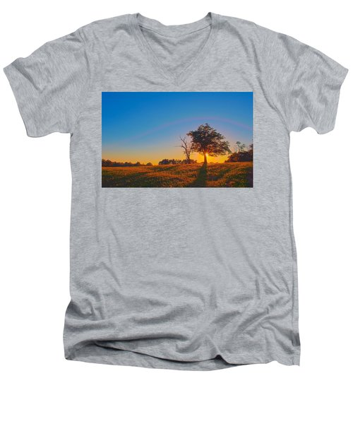 Men's V-Neck T-Shirt featuring the photograph Lonely Tree On Farmland At Sunset by Alex Grichenko