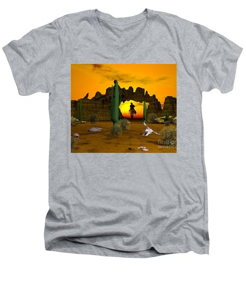 Men's V-Neck T-Shirt featuring the digital art Lonesome Dove by Jacqueline Lloyd