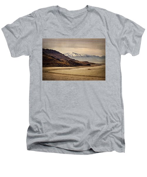 Men's V-Neck T-Shirt featuring the photograph Lonesome Land by Priscilla Burgers