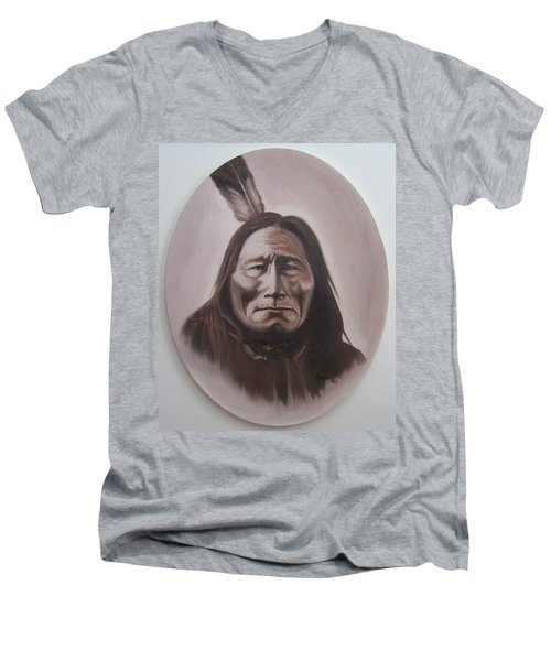 Men's V-Neck T-Shirt featuring the painting Long Bear by Michael  TMAD Finney