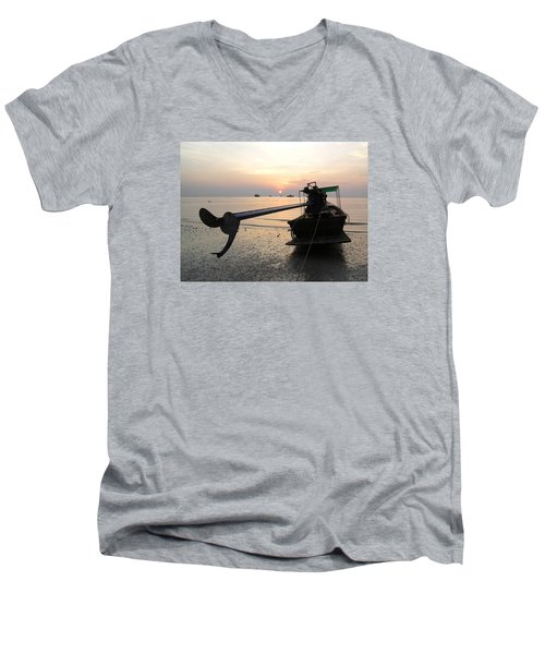 Men's V-Neck T-Shirt featuring the photograph Long Tail Boat by Dreamland Media