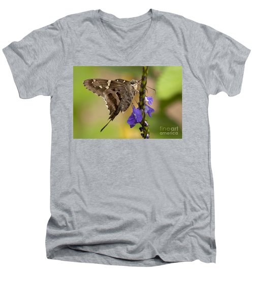 Men's V-Neck T-Shirt featuring the photograph Long-tailed Skipper Photo by Meg Rousher