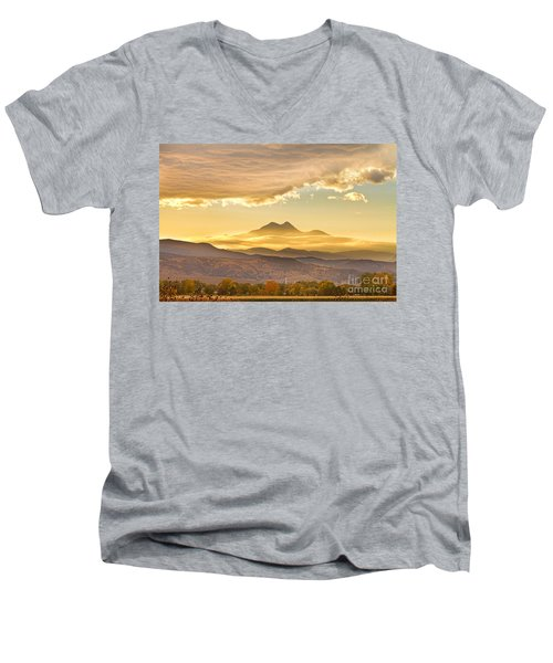 Longs Peak Autumn Sunset Men's V-Neck T-Shirt