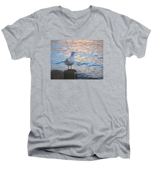 Men's V-Neck T-Shirt featuring the photograph Looking Back by Susan  Dimitrakopoulos