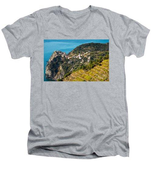 Looking Down Onto Corniglia Men's V-Neck T-Shirt