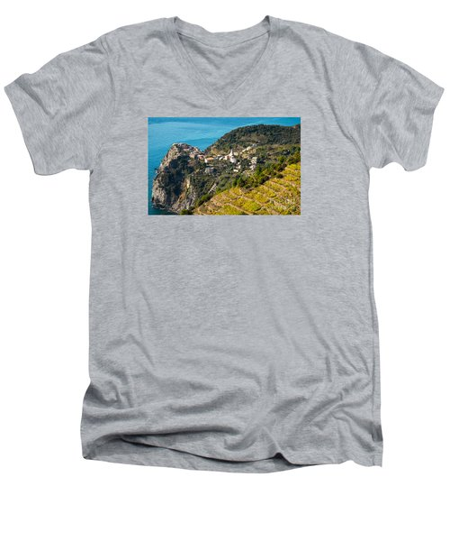 Looking Down Onto Corniglia Men's V-Neck T-Shirt