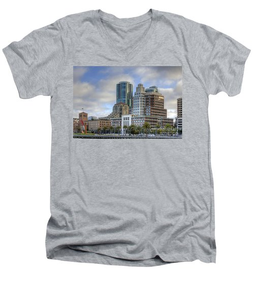 Men's V-Neck T-Shirt featuring the photograph Looking Downtown by Kate Brown