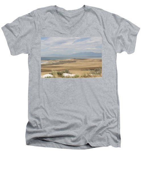 Looking North From Antelope Island Men's V-Neck T-Shirt by Belinda Greb