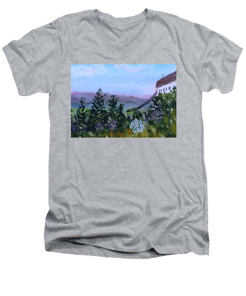 Looking Out From Top Of Jay Peak  Men's V-Neck T-Shirt by Donna Walsh
