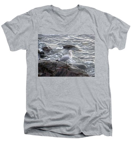 Men's V-Neck T-Shirt featuring the photograph Looking Out To Sea by Eunice Miller