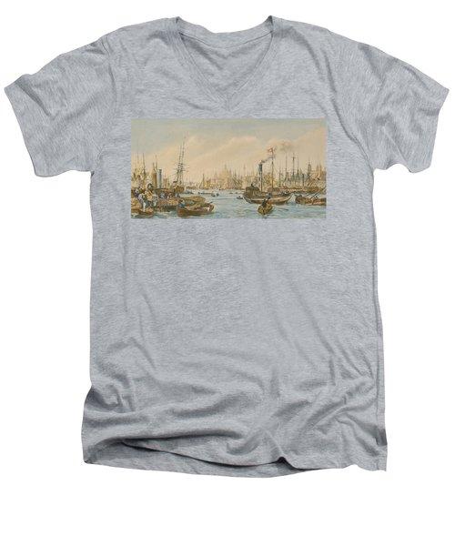 Looking Towards London Bridge Men's V-Neck T-Shirt by William Parrot