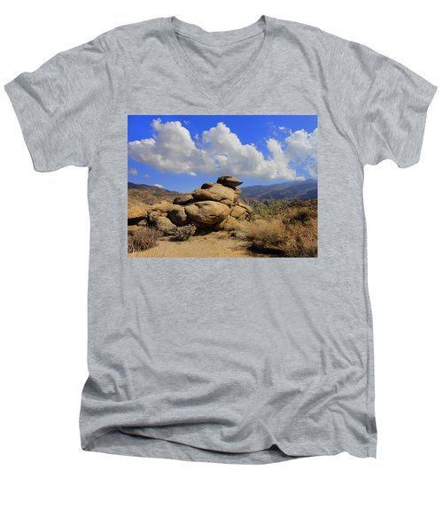Lookout Rock Men's V-Neck T-Shirt by Michael Pickett
