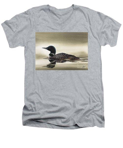 Loon In Still Waters Men's V-Neck T-Shirt