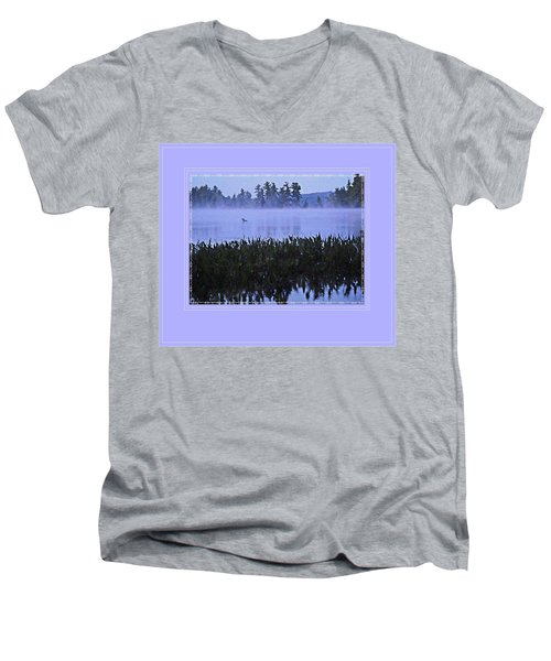 Loon On A Misty Morning At Parker Men's V-Neck T-Shirt by Joy Nichols