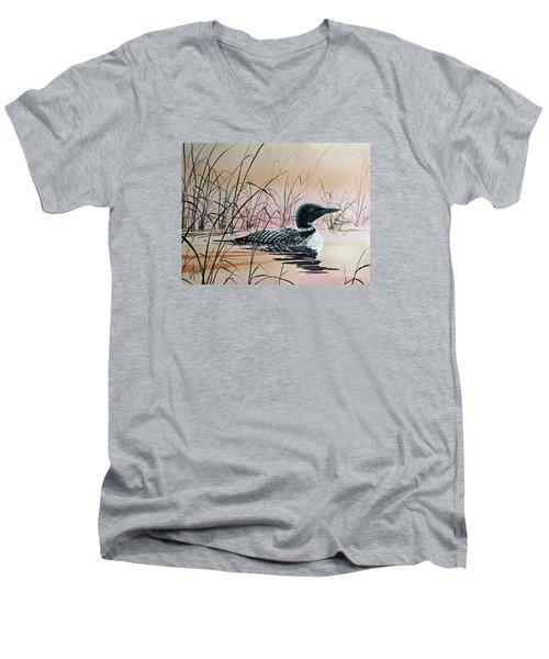 Loon Sunset Men's V-Neck T-Shirt