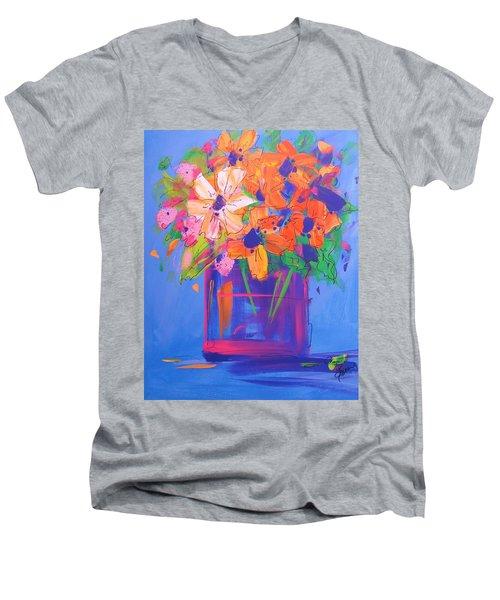 Loosey Goosey Flowers Men's V-Neck T-Shirt by Terri Einer