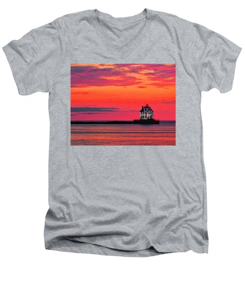 Lorain Lighthouse At Sunset Men's V-Neck T-Shirt by Michael Pickett