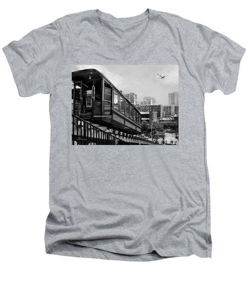 Los Angeles Angels Flight.bw Men's V-Neck T-Shirt by Jennie Breeze