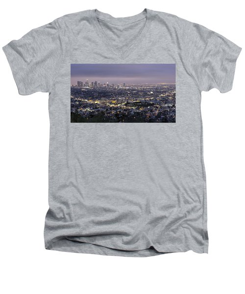 Los Angeles At Night From The Griffith Park Observatory Men's V-Neck T-Shirt