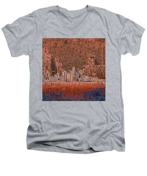 Los Angeles Skyline Abstract 7 Men's V-Neck T-Shirt