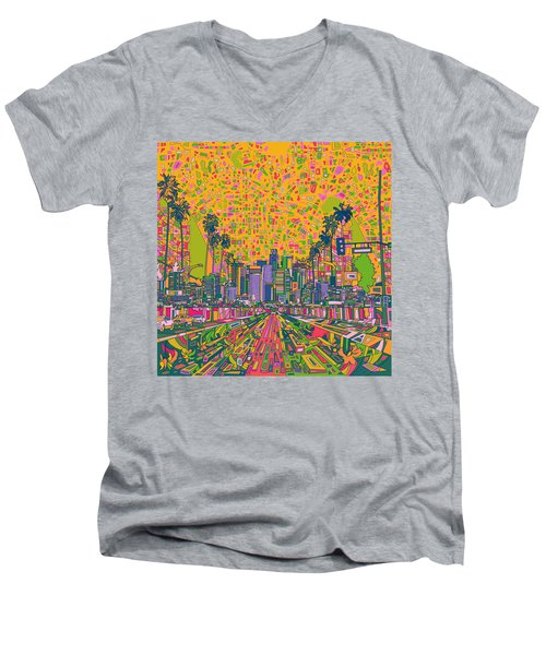 Los Angeles Skyline Abstract Men's V-Neck T-Shirt