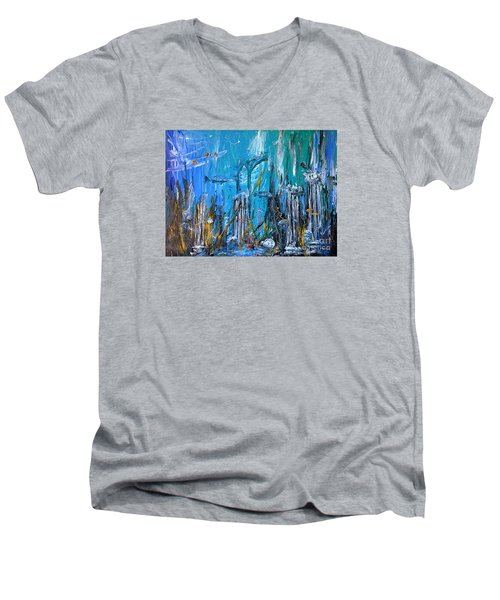 Men's V-Neck T-Shirt featuring the painting Lost City by Arturas Slapsys