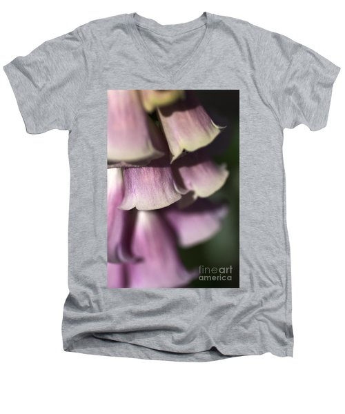 Men's V-Neck T-Shirt featuring the photograph Lost In A Foxglove by Joy Watson