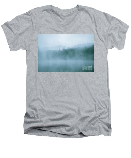 Lost In Fog Over Lake Men's V-Neck T-Shirt