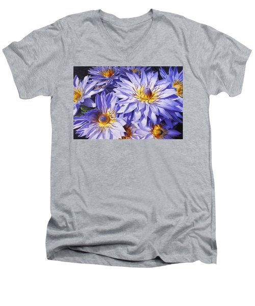 Lotus Light - Hawaiian Tropical Floral Men's V-Neck T-Shirt