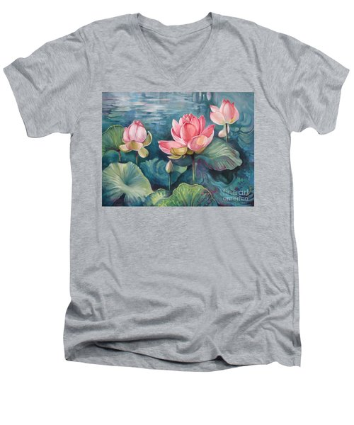 Men's V-Neck T-Shirt featuring the painting Lotus Pond by Elena Oleniuc