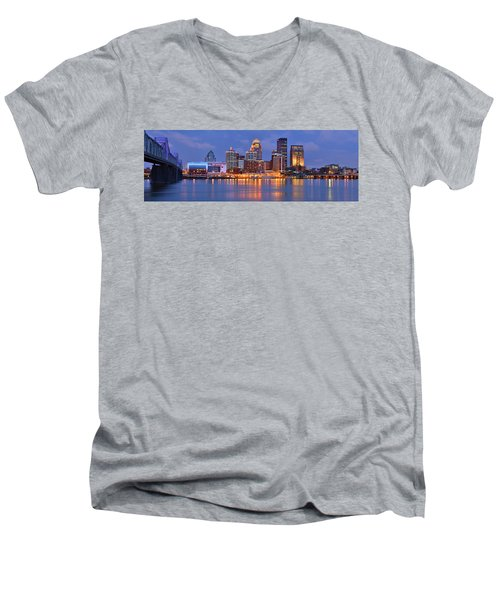 Louisville Skyline At Dusk Sunset Panorama Kentucky Men's V-Neck T-Shirt