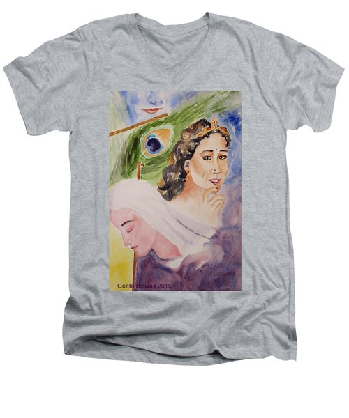 Men's V-Neck T-Shirt featuring the painting Love And Devotion by Geeta Biswas