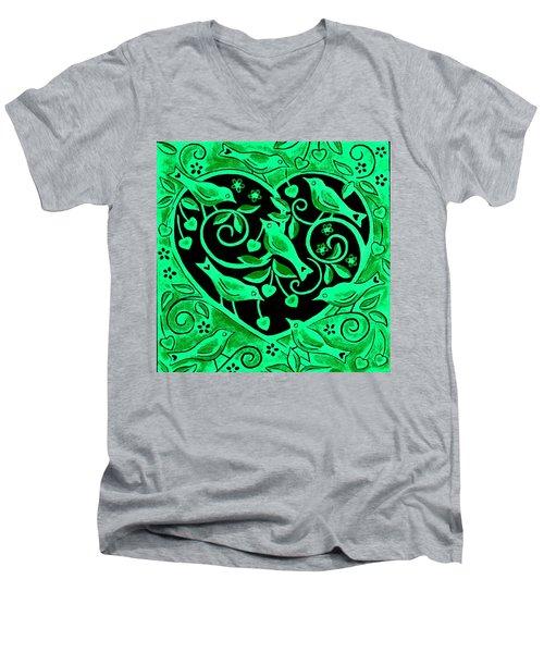 Love Birds, 2012 Woodcut Men's V-Neck T-Shirt