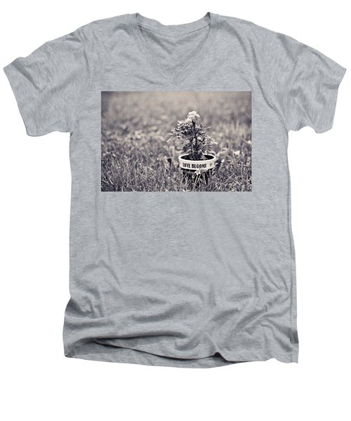 Men's V-Neck T-Shirt featuring the photograph Love Blooms by Sara Frank