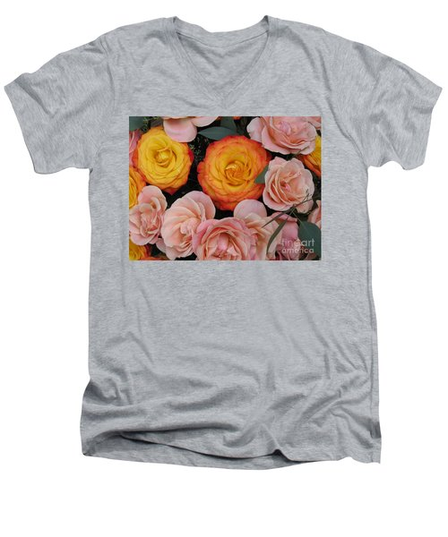 Love Bouquet Men's V-Neck T-Shirt by HEVi FineArt
