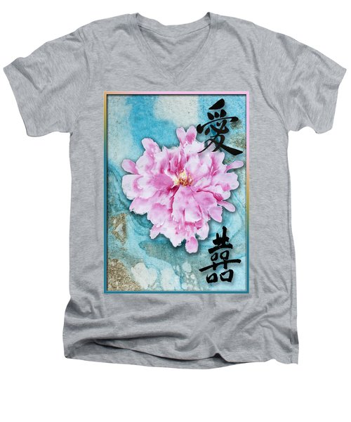 Men's V-Neck T-Shirt featuring the mixed media Love Double Happiness With Red Peony by Peter v Quenter