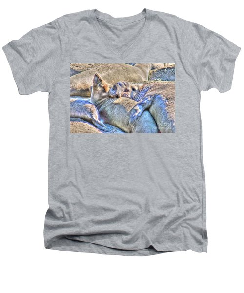Love Hug - San Simeon California Men's V-Neck T-Shirt