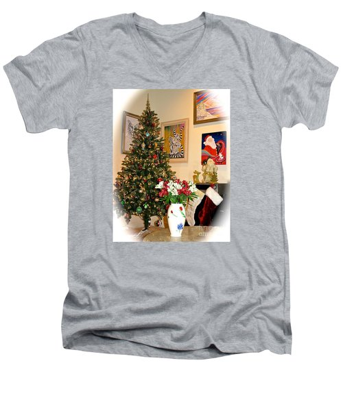 Love In Our Hearts And Santa In The Corner Men's V-Neck T-Shirt by Phyllis Kaltenbach