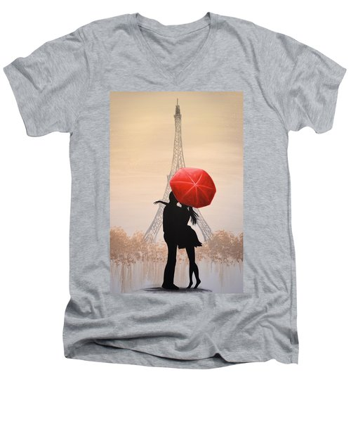 Men's V-Neck T-Shirt featuring the painting Love In Paris by Amy Giacomelli